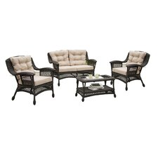 Savings Viva All-Weather Wicker 4 Piece Deep Seating Group with Cushion