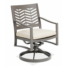 Chevron Swivel Dining Arm Chair with Cushion