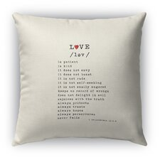 Love Is 3 Burlap Indoor/Outdoor Throw Pillow