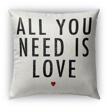 All You Need Is Love Burlap Indoor/Outdoor Throw Pillow