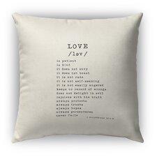 Love Is Burlap Indoor/Outdoor Throw Pillow