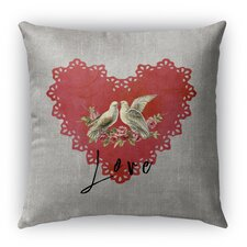 Love Birds 2 Burlap Indoor/Outdoor Throw Pillow