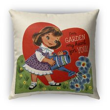 Garden My Heart for You Burlap Indoor/Outdoor Throw Pillow
