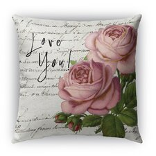 Love You Burlap Indoor/Outdoor Throw Pillow