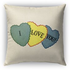 I Love You Burlap Indoor/Outdoor Throw Pillow