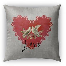 Love Birds Burlap Indoor/Outdoor Throw Pillow