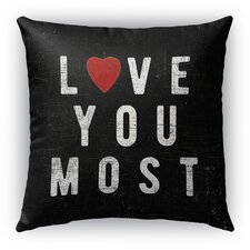 Love You Most Burlap Indoor/Outdoor Throw Pillow