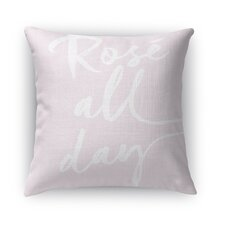 Rose All Day Burlap Indoor/Outdoor Throw Pillow