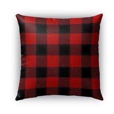 Lumberjack Burlap Indoor/Outdoor Throw Pillow