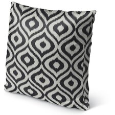 Ikat Ogee Burlap Indoor/Outdoor Throw Pillow
