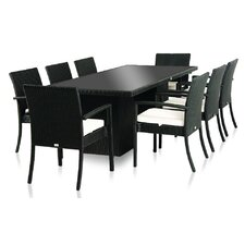 Littolo 9 Piece Dining Set with Cushion (Set of 9)