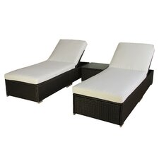 3 Piece Chaise Lounge Set with Cushion