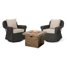 Raven 3 Piece Rocking Chair Gas Fire Pit Set