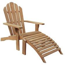 Teak Adirondack Chair and Footstool Set