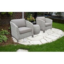 Balcony Deluxe 3 Piece Deep Seating Group Set with Cushion