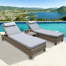 3 Piece Chaise Lounge with Cushion