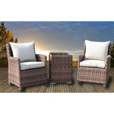 No Copoun Roots Couples 3 Piece Deep Seating Group with Cushions