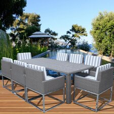 Indo Modern 9 Piece Dining Set with Cushions