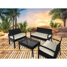 Excel 4 Piece Lounge Seating Group with Cushion