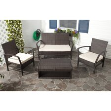 Avaron 4 Piece Deep Seating Group in Brown with Cushion