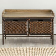 Bergen Wood and Metal Storage Bench