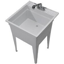 "Heavy Duty 23.75"" x 24.75"" Single Freestanding Laundry Sink with Faucet"
