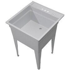 "Essential 23.75"" x 24.75"" Single Free Standing Laundry Sink"