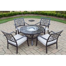 5 Piece Fir Pit Seating Group with Cushions