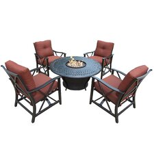 Charleston 5 Piece Fire Pit Seating Group with Cushions