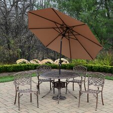 Capitol Mississippi 5 Piece Dining Set with Umbrella