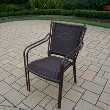 Wicker Stacking Dining Arm Chair (Set of 2)