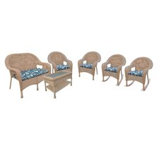 Resin Wicker 6 Piece Seating Group with Cushions