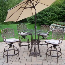 Hummingbird Mississippi 6 Piece Bar Set with Cushions and Umbrella