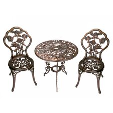 No Copoun Rose 3 Piece Bistro Set