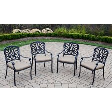 Hampton Stackable Dining Arm Chairs with Cushions (Set of 4)