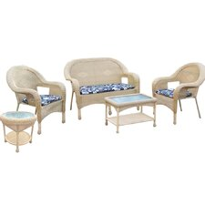 Resin Wicker 5 Piece Seating Group with Cushions
