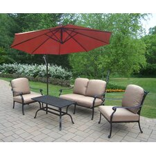 Hampton Aluminum 4 Piece Deep Seating Group with Cushions