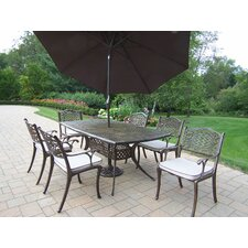 Oxford Mississippi 7 Piece Dining Set with Cushions and Umbrella