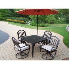 Rochester Swivel 5 Piece Dining Set with Cushions and Umbrella
