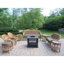 Resin Wicker 9 Piece Fire Pit Seating Group Set
