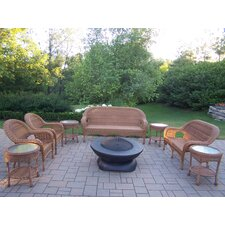 Lovely Resin Wicker 9 Piece Fire Pit Seating Group Set