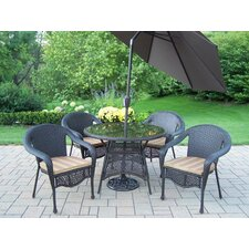 Elite Resin Wicker 5 Piece Dining Set with Cushions and Umbrella