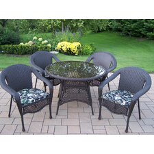Elite Resin Wicker 5 Piece Dining Set with Cushions