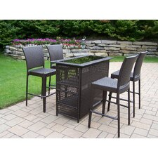 Elite Resin Wicker 5 Piece Bar Set