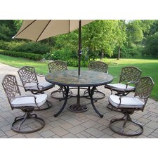 Today Sale Only Stone Art Dining Set with Cushions and Umbrella