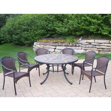 Tuscany Stone Art 7 Piece Dining Set