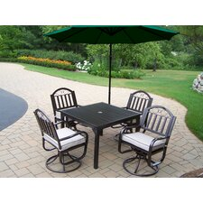 Rochester 5 Piece Swivel Dining Set with Cushions and Umbrella