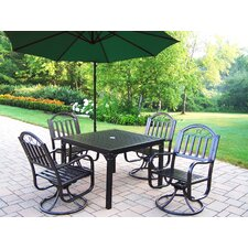 Bargain Rochester 5 Piece Swivel Dining Set with Umbrella