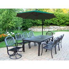 Rochester 9 Piece Swivel Dining Set with Umbrella