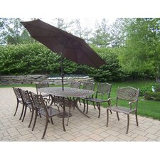 #1 Mississippi 9 Piece Dining Set with Umbrella